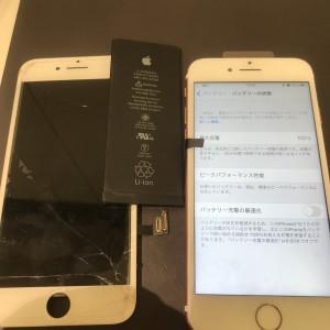 アイフォン7 画面修理と電池交換