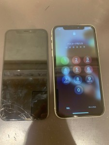 アイフォンXR ディスプレイ交換修理後