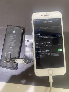 iPhone8 ドックコネクター修理と電池交換の2カ所修理